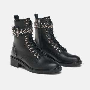Zara Shoes - STUDDED LEATHER ANKLE BOOTS